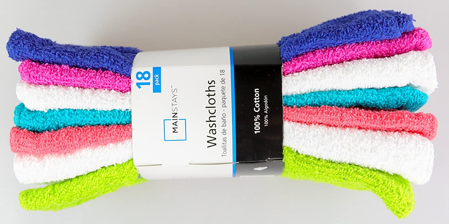 Amazon.com: MAINSTAYS 18 Pack Assorted Cotton Terry Thin Washcloths Rags (NPWGO): Home & Kitchen