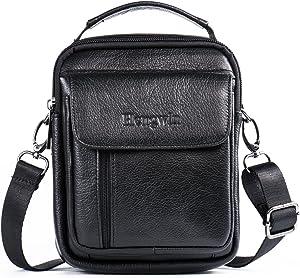 Hwin Holster Case with Belt Loop Leather Men Small Crossbody Travel Shoulder Bag Belt Pouch Waist Bag Fanny Messager Pack Handbag Purse iPhone 6s/7/8 Plus Briefcase Business Work Bags+Hwin Keychain