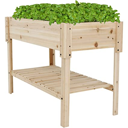 Amazoncom Sunnydaze Raised Wood Garden Bed Planter Box With Shelf