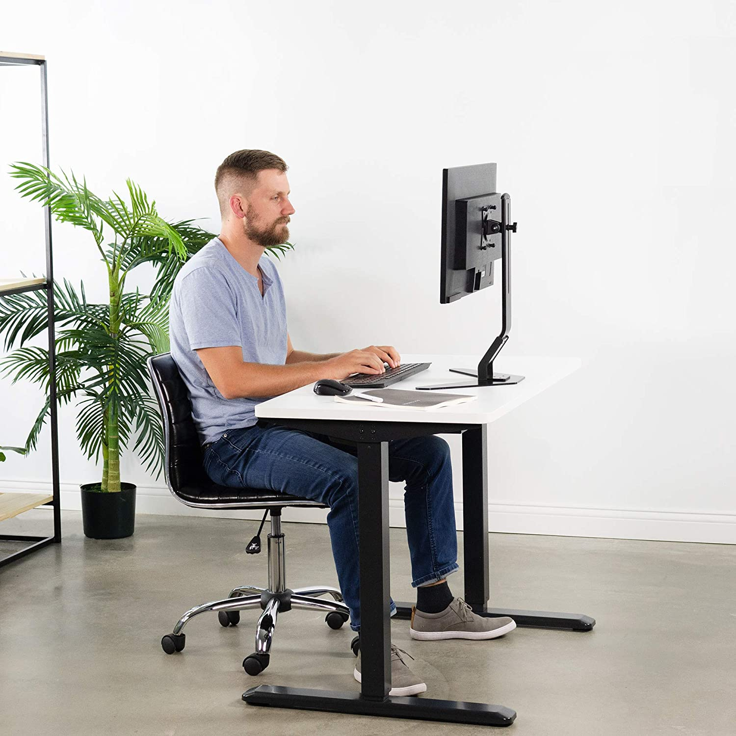 VIVO Electric 43 x 24 inch Stand Up Desk DESK-KIT-1W4B Black Table Top White Frame Height Adjustable Standing Workstation with Memory Preset Controller