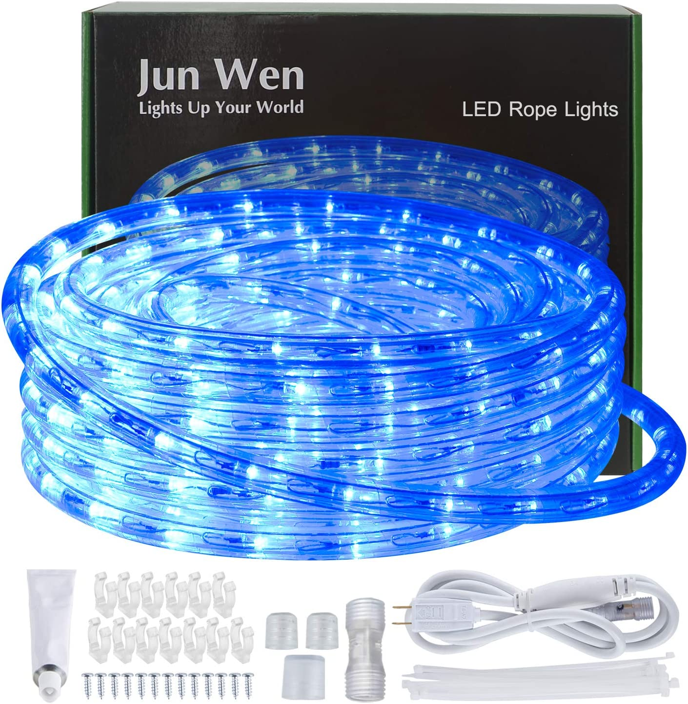 JUNWEN Blue Led Rope Strip Lights, Outdoor, Indoor, 39FT/12M, Waterproof, 432LEDs, String Lighting, Plug in 110V 8A Power Cord, Connectable, Cuttable, Flexible, 8A Fuse Holder Powered