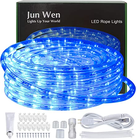 Indoor Flexible Waterproof String Lighting Cuttable 39FT//12M 432LEDs Outdoor 8A Fuse Holder Powered Connectable JUNWEN Blue Led Rope Strip Lights Plug in 110V