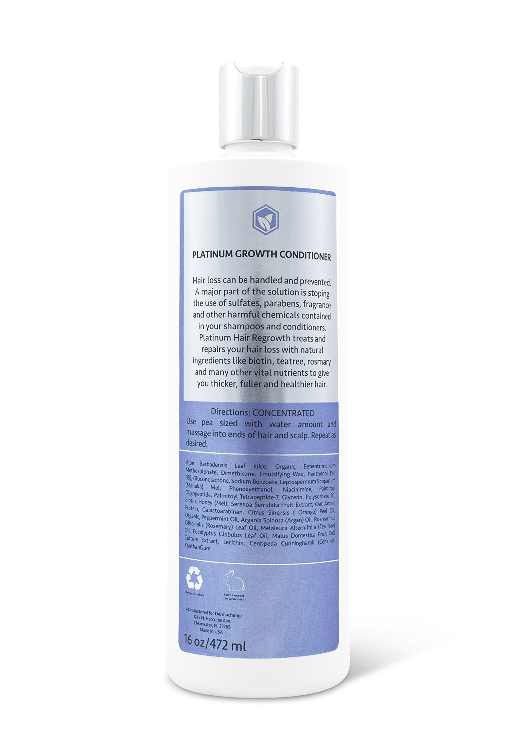 DermaChange Platinum Hair Growth Moisturizing Conditioner - With Argan Oil, Biotin & Tea Tree Extract - Supports Hair Regrowth - Hair Loss Treatments (16 oz) - Made in USA by DermaChange (Image #3)