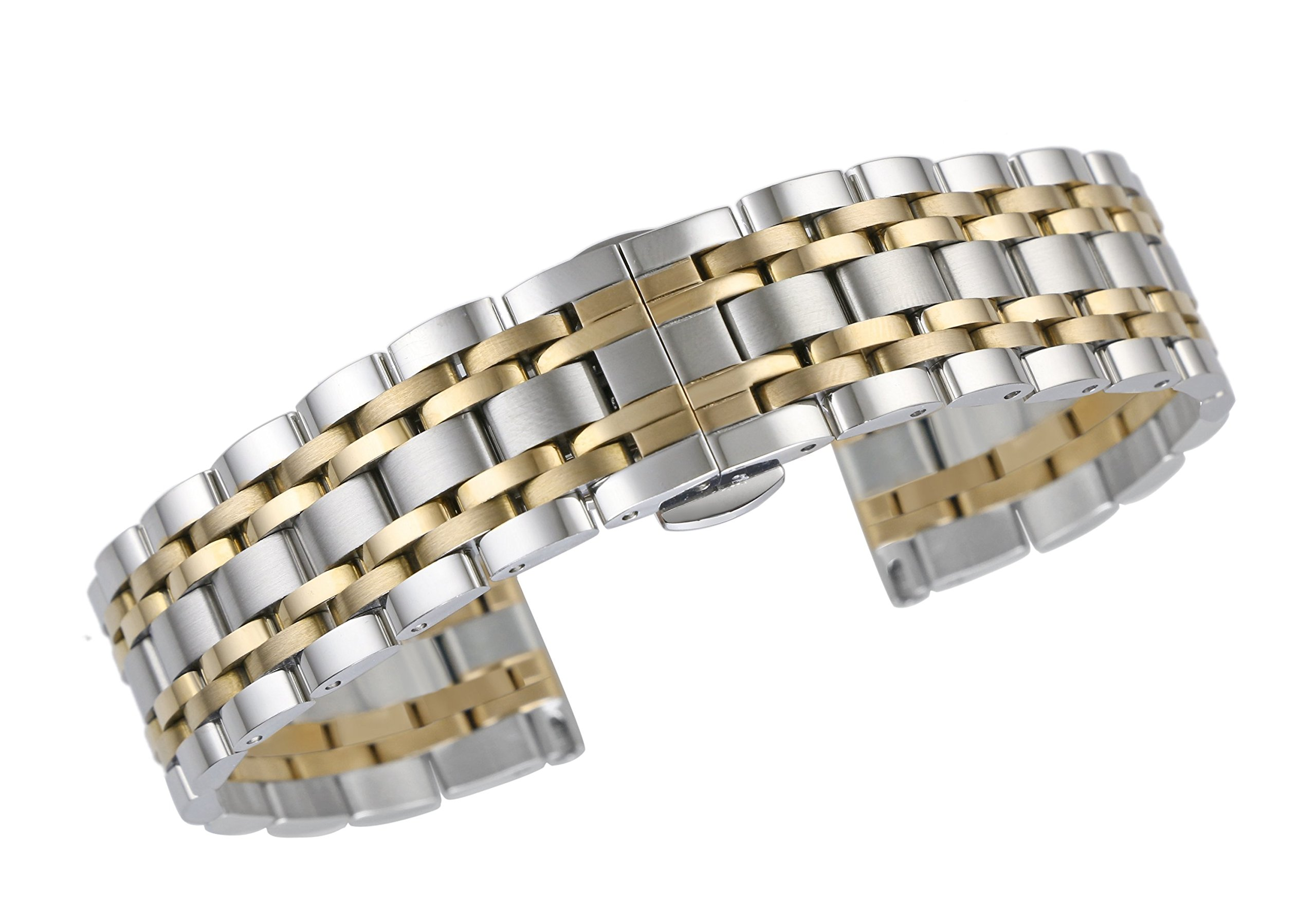 17mm Deluxe Dual Tone Watch Strap in Two Tone Silver and Gold Solid Stainless Steel with Deployment Clasp by autulet