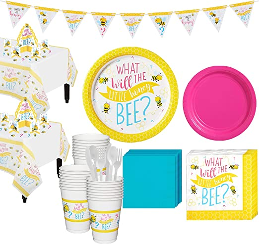 Party City Little Honey Bee Gender Reveal Party Supplies for 32 Guests,  Include Plates, Napkins, Cups, and Decorations