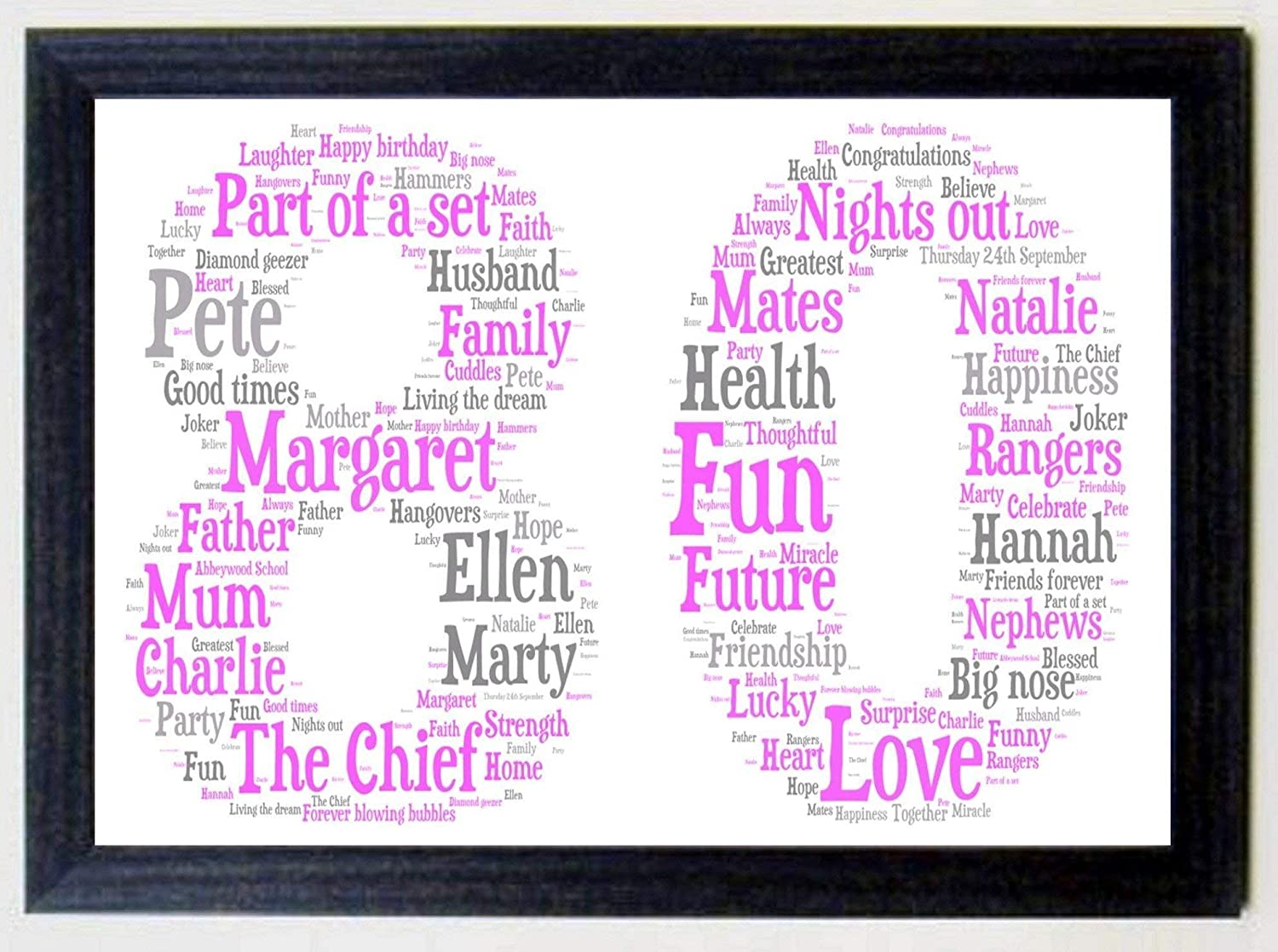 21st 30th 60th 40th 50th Personalised 16th 80th Framed Birthday A4 Print Gift Keepsake 70th Any age Black Wood Frame with a Lilac /& Greys Print