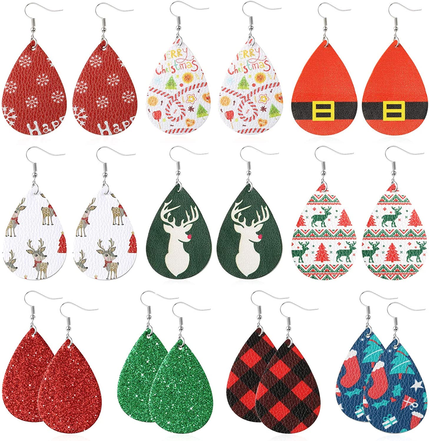 Amazon Com Christmas Earrings 10 Pairs For Women Girl Bulk Purchase Under 5 Dollars Xmas New Year Gifts Statement Handmade Lightweight Leaf Drop Dangle Earring With Faux Leather Clothing