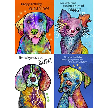 Amazon Tree Free Greetings Colorful Dog Birthday Card Assortment 5 X 7 Inches 8 Cards And Envelopes Per Set GA31581 Office Products