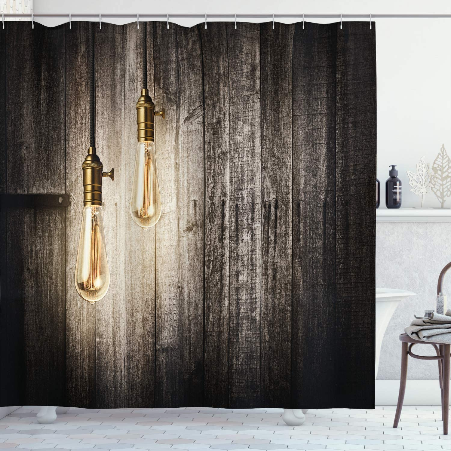 Ambesonne Industrial Shower Curtain, Historical Innovation Edison Revival Retro Electricity Wooden Planks, Cloth Fabric Bathroom Decor Set with Hooks, 70