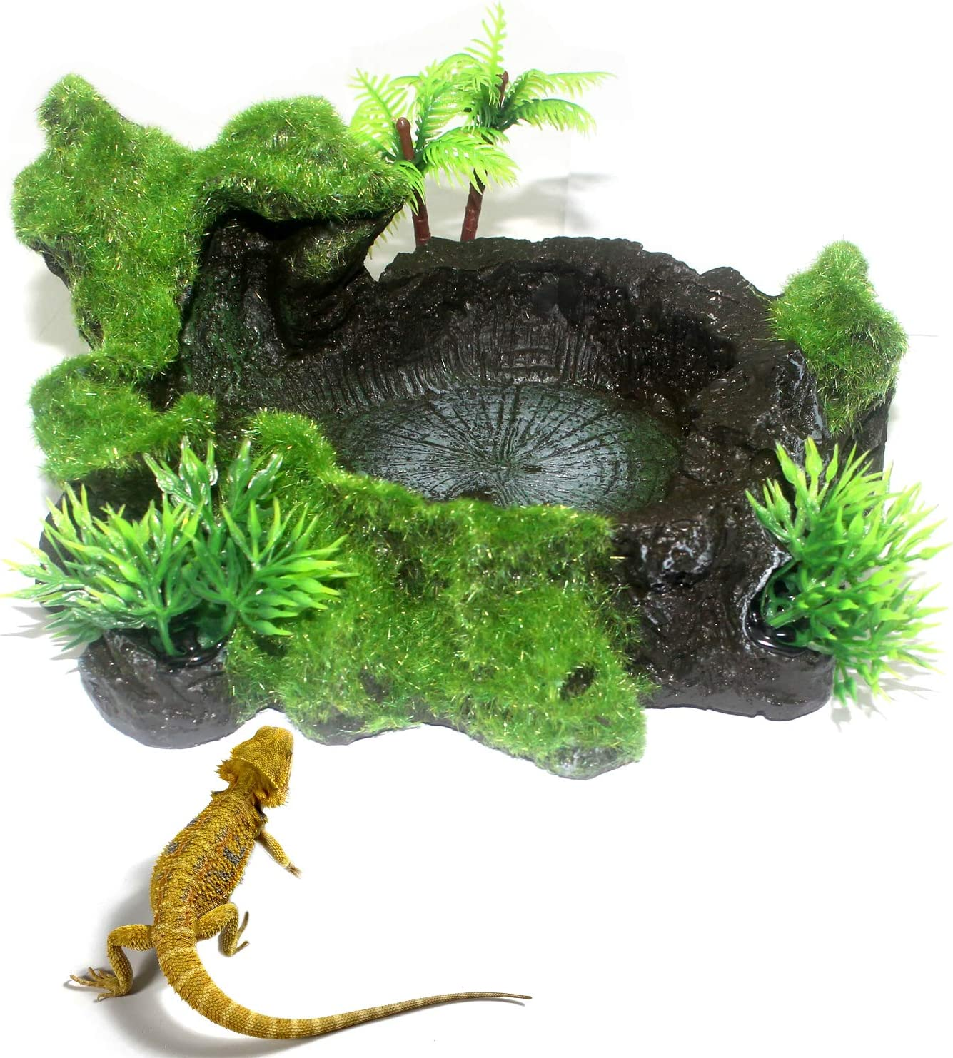 WeiMeet Plastic Reptile Tank Artificial Tree Trunk Reptile Platform Resin Reptile Tank Water Dish Bowl for Lizard Water Frog Gecko and Other Reptile