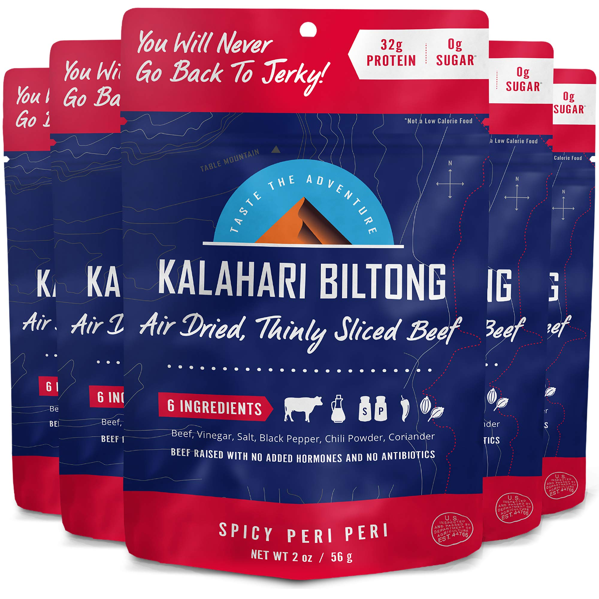 Kalahari Biltong | Air-Dried Thinly Sliced Beef | Spicy Peri Peri | 2oz (Pack of 5) | Zero Sugar | Keto & Paleo | Gluten Free | Better than Jerky