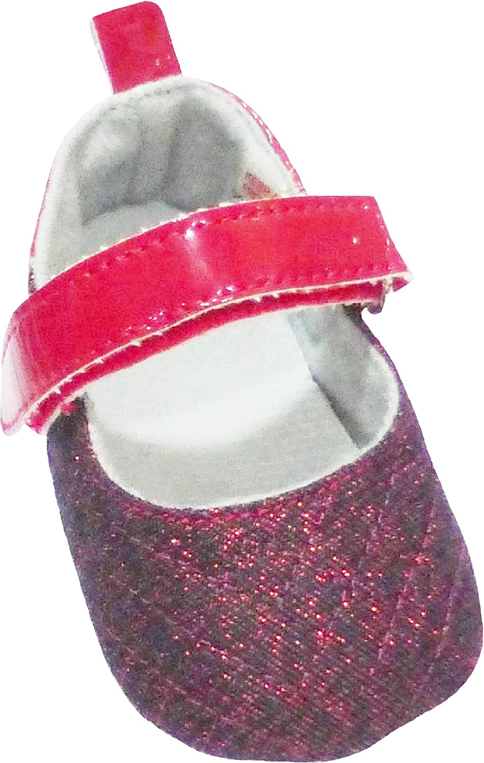 4.5 Insole Baby Shoes with Burgundy Sparkling Front 12-15 Months