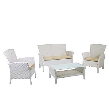 Conjunto muebles de jardín de 4 piezas: Sofá, 2 sillones y ...