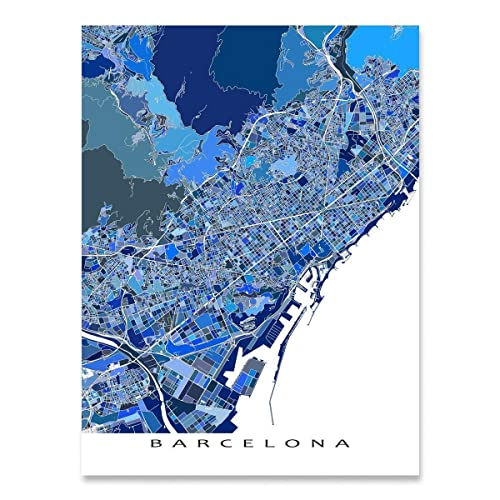 Amazon Com Barcelona Map Art Print Blue Wall Poster City Streets Spain Europe Handmade