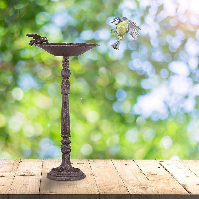 Relaxdays Cast Iron Bird Bath Wild Bird Stainless Brown Wall-Mount HxWxD 24 x 28 x 14cm Weatherproof Garden Decor
