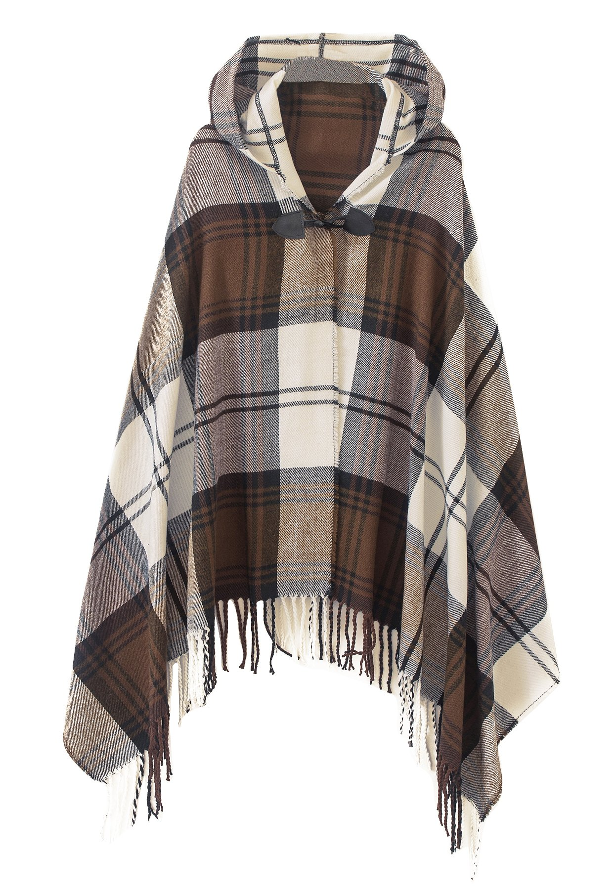 Women's Vintage Plaid Knitted Tassel Poncho Shawl Cape Button Cardigan (One Size, Series 2 Camel)