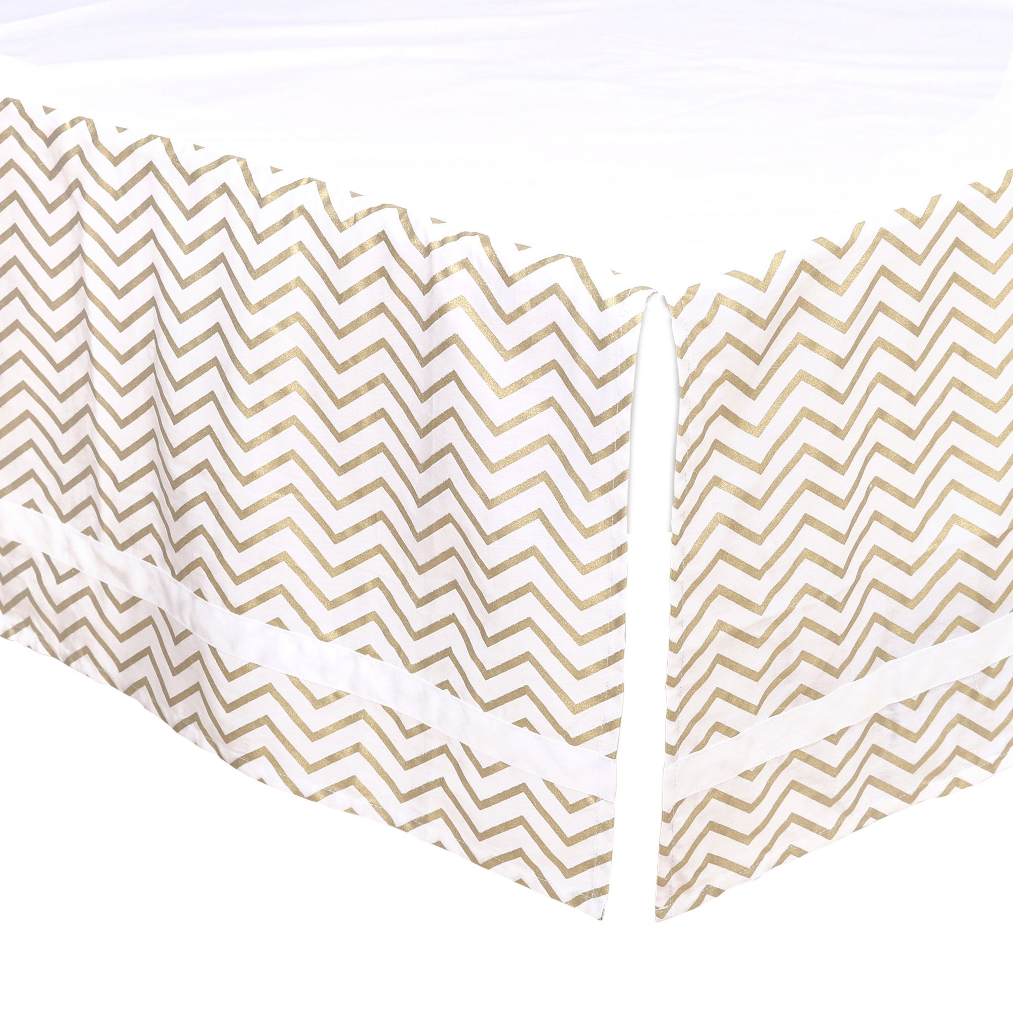 Gold Chevron Tailored Crib Dust Ruffle with White Stripe by The Peanut Shell by The Peanut Shell