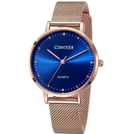Comtex Relojes Mujer Oro Rosa Pulsera de Acero Inoxidable Cristal Cuarzo Dial Azul Analógico Relojes de