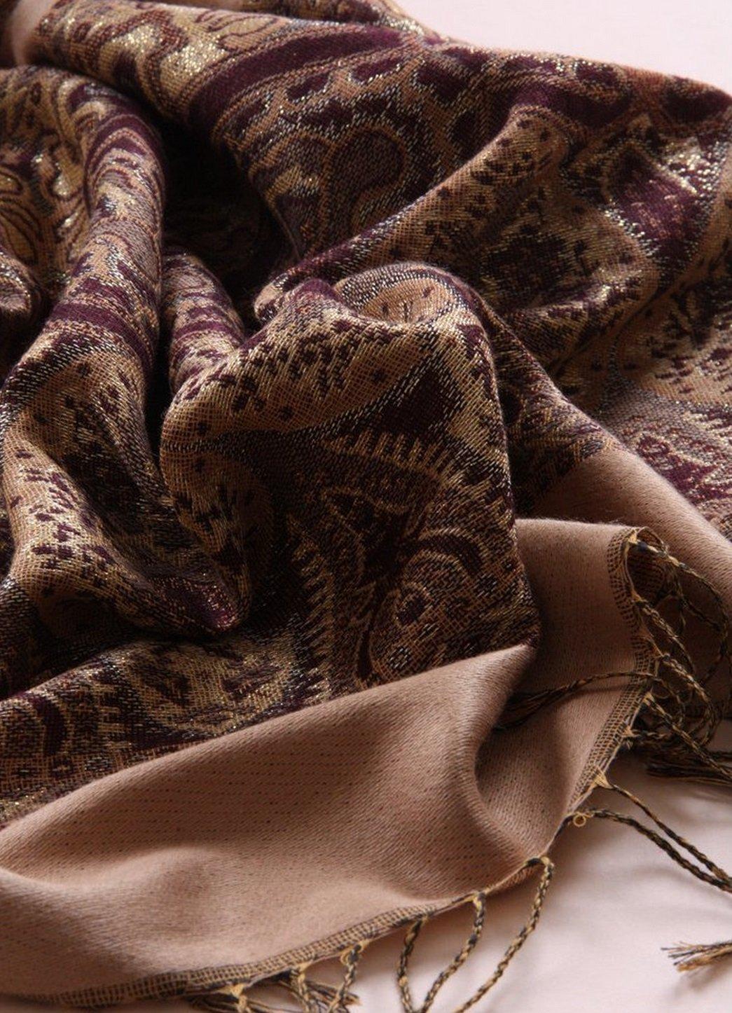 Onlineb2c Women's Woven Reversible Paisley Pashmina Shawl Wrap Camel by Onlineb2c (Image #4)