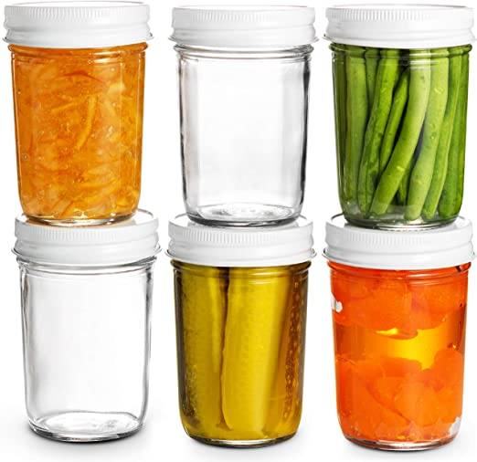 6 x 1 lb//380 ml Round Glass Jam Jars Marmalade//Mincemeat Oranges//Red Fruits Lids