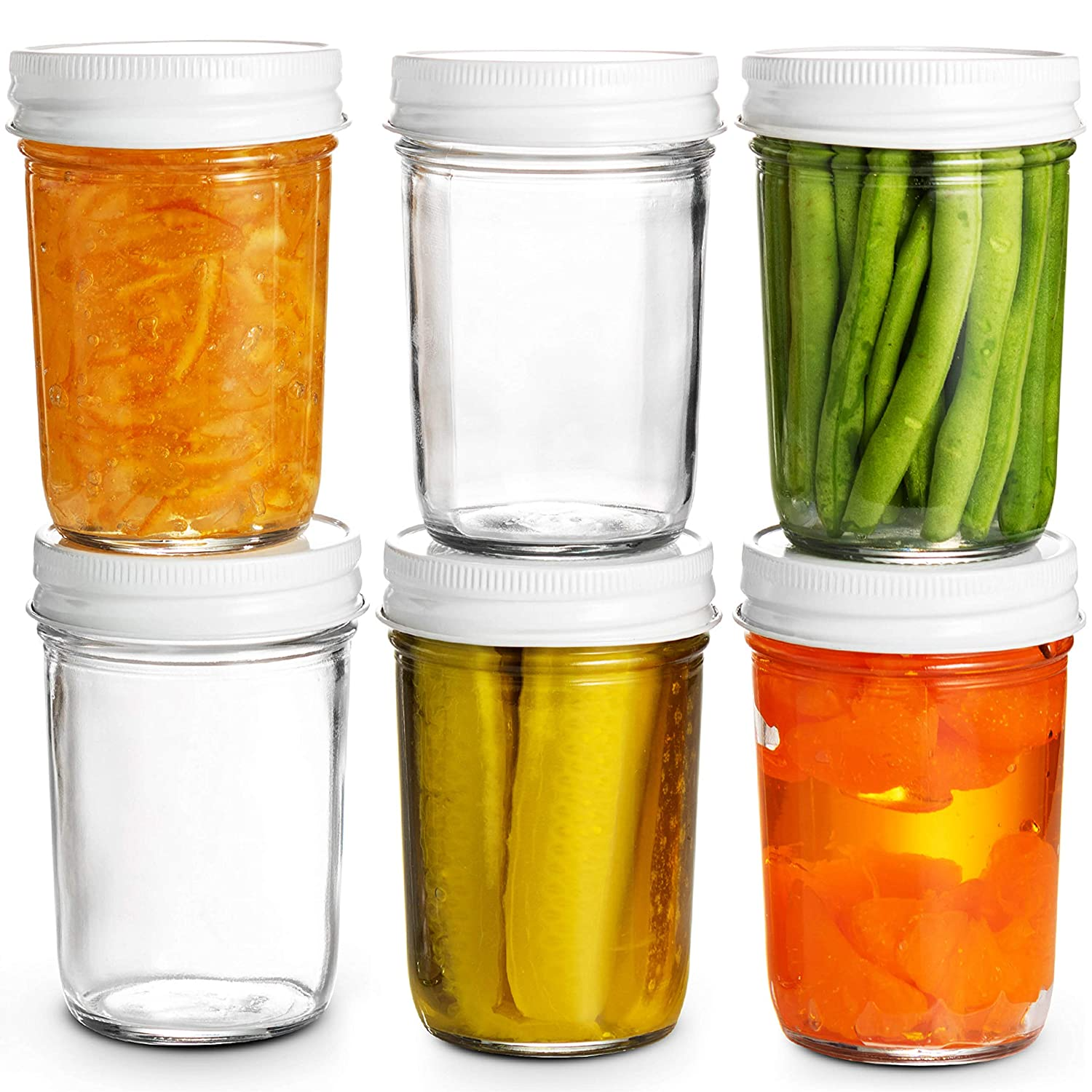 Glass Mason Jars Full Mouth - 8 Ounce - (6 Pack) Glass Jars with Metal Airtight Lids Perfect Meal Prep, Food Storage, Canning, Drinking Jars, for Jelly, Jam, Dry Food, Spices, Herbs, Salads, Yogurt,