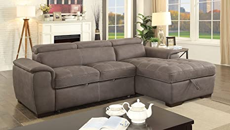 Amazon Com Esofastore Sectional Sofa W Pull Out Bed Adjustable