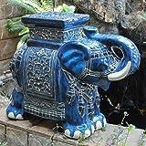 International Caravan VHO16A-C-LG-VB-IC Furniture Piece Large Porcelain Elephant Stool