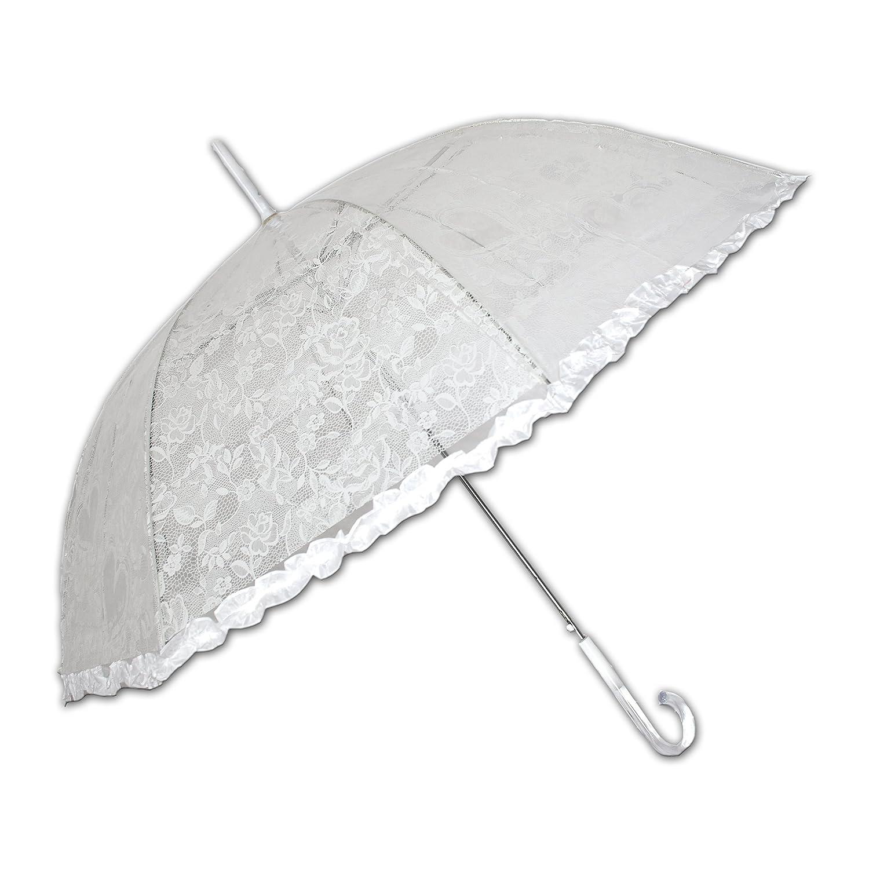 Weißer Gothic Regenschirm aus Spitze und Lack