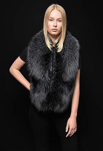 78e3869a094 Amazon.com: Black Ice (Grey) Silver Fox Fur Stole Wrap Boa Collar ...
