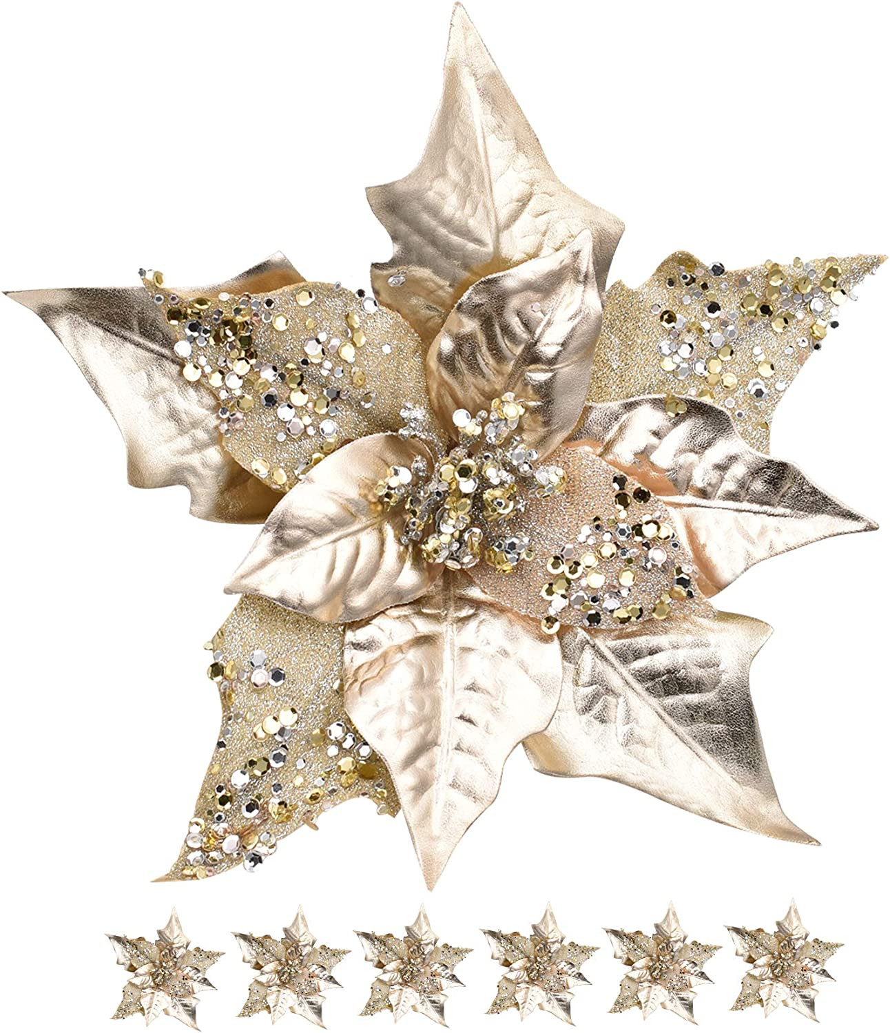 RED DECO 6pcs Artificial Christmas Poinsettias Flowers for Decoration, Glitter Flower Christmas Tree Ornaments Wedding Holiday Wreath Garland Decor with Clip(Champagne Gold)