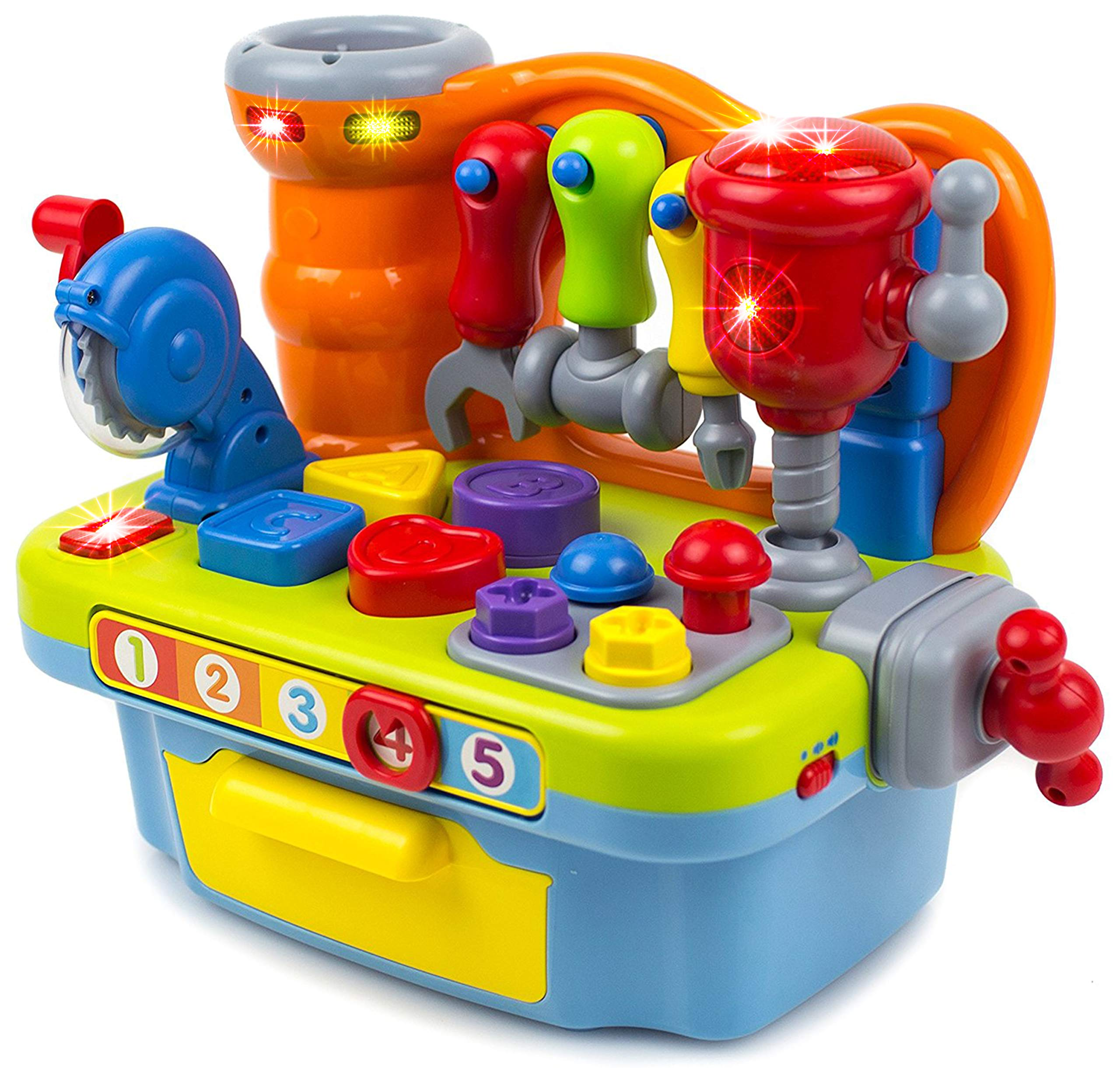 Toysery Musical Learning Workbench Toy Set for Kids with Shape Sorter Tools Sounds & Lights Gift for Toddler Boys & Girls 3 Years Old