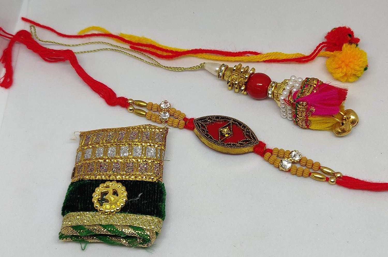 2 Indian Rakhi raksha bandhan Rakhi for Brother Rakhi Rakhi Gift for Sister Rakhi for Kids Rakhi for Brother Bracelet Set Fancy Set for Brother thali rakshabandhan Bracelet