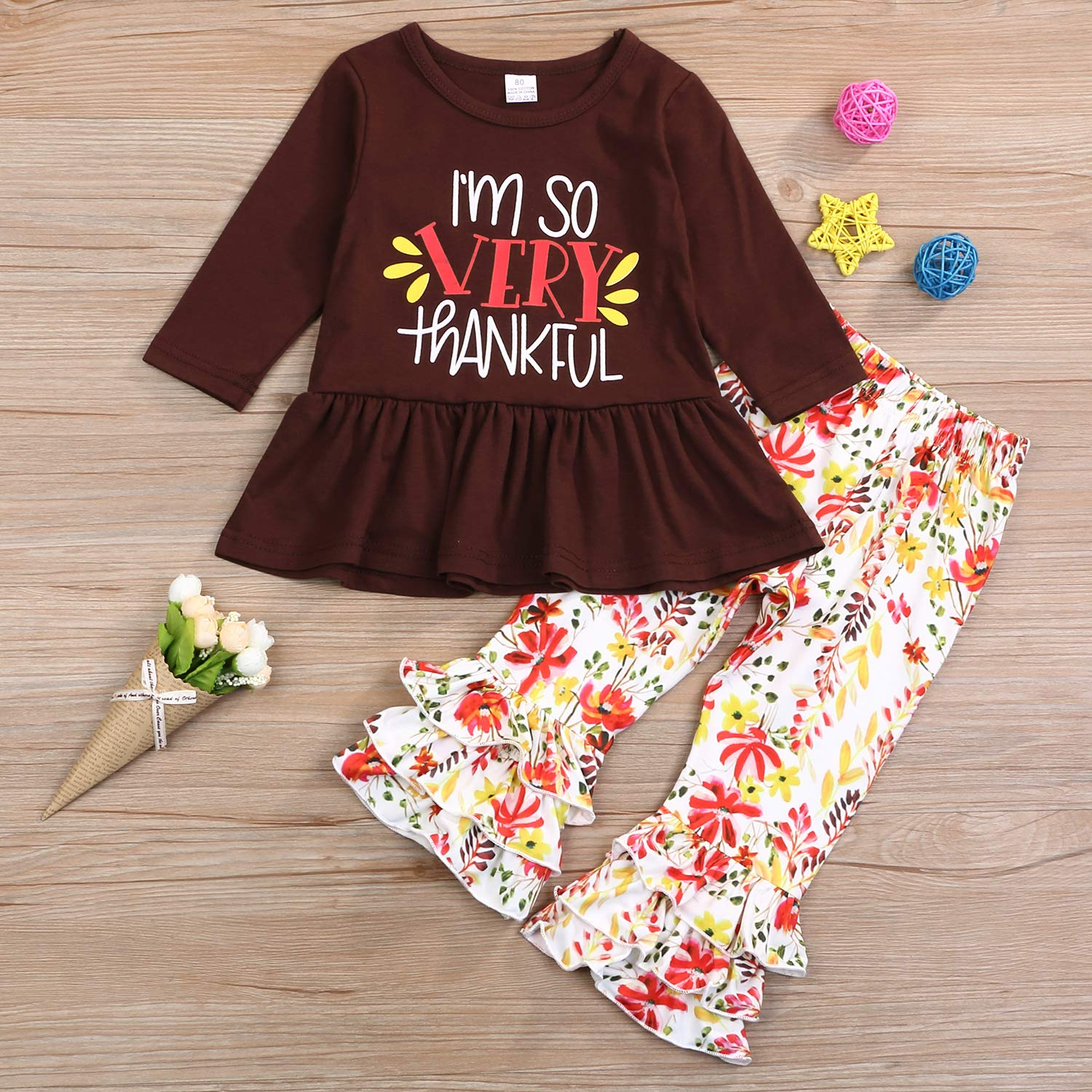 Thanksgiving Outfits Toddler Kids Baby Girls Fall Dresses Maple Leaf Floral Dress Long Sleeve Clothes Set