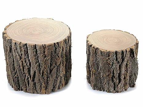 Ideapiu set tronchetti decorativi in legno amazon casa e cucina