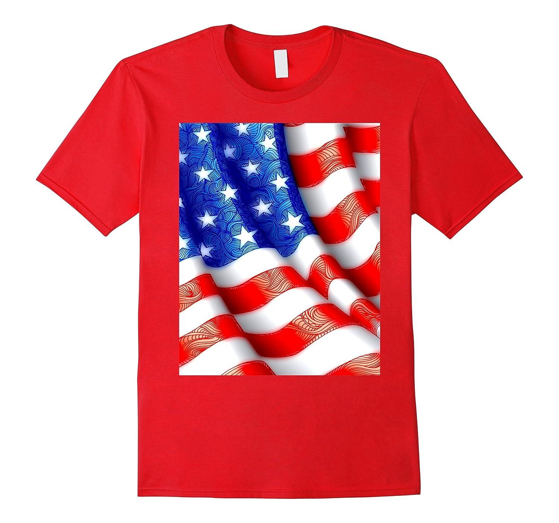 Wavy American Flag Red, White, Blue USA Stars & Stripes-CL
