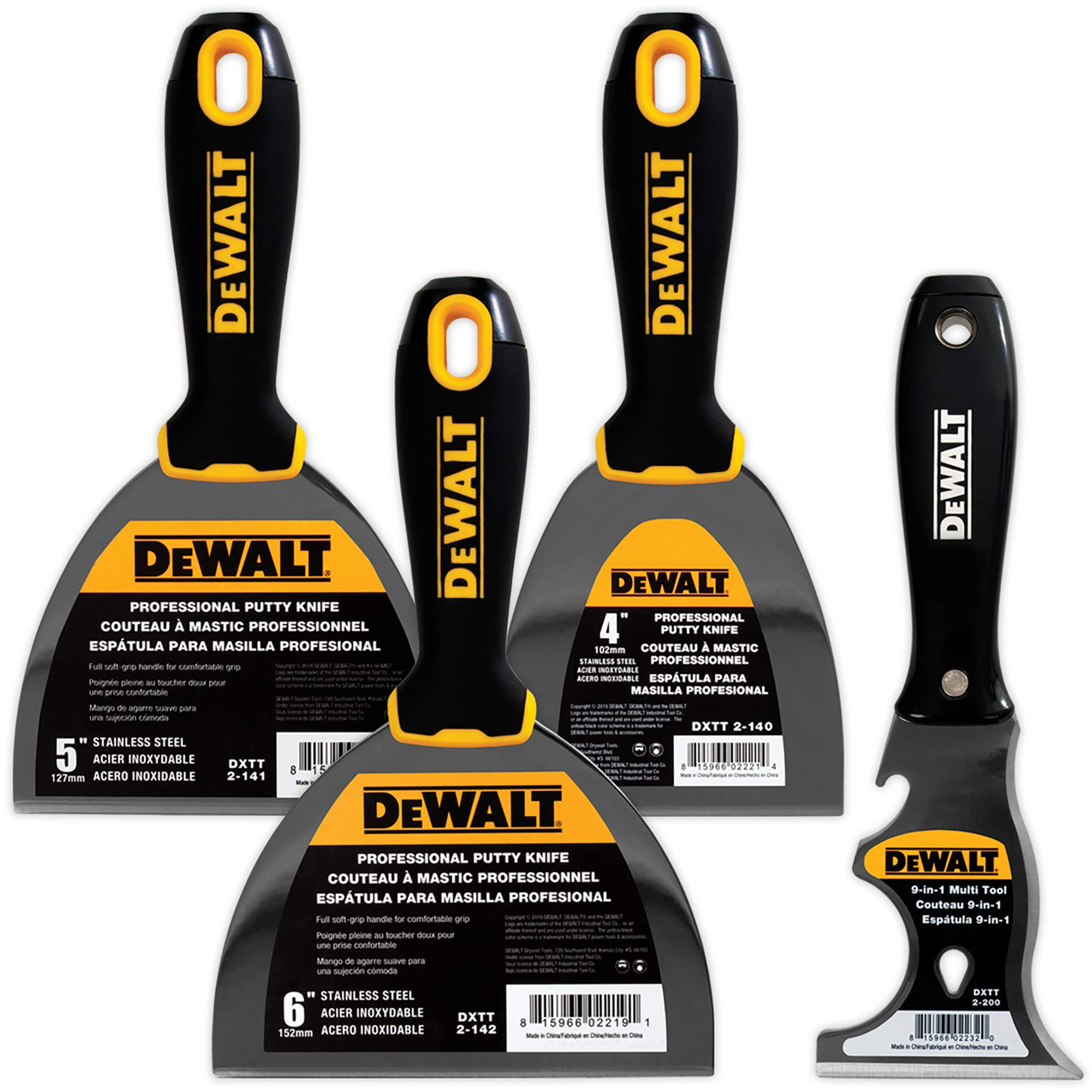 DEWALT Stainless Steel Putty Knife 3-Pack | 4/5/6-Inch + 9-in-1 Painter's Multitool Included for FREE | Soft Grip Handles | DXTT-3-140 by DEWALT (Image #1)