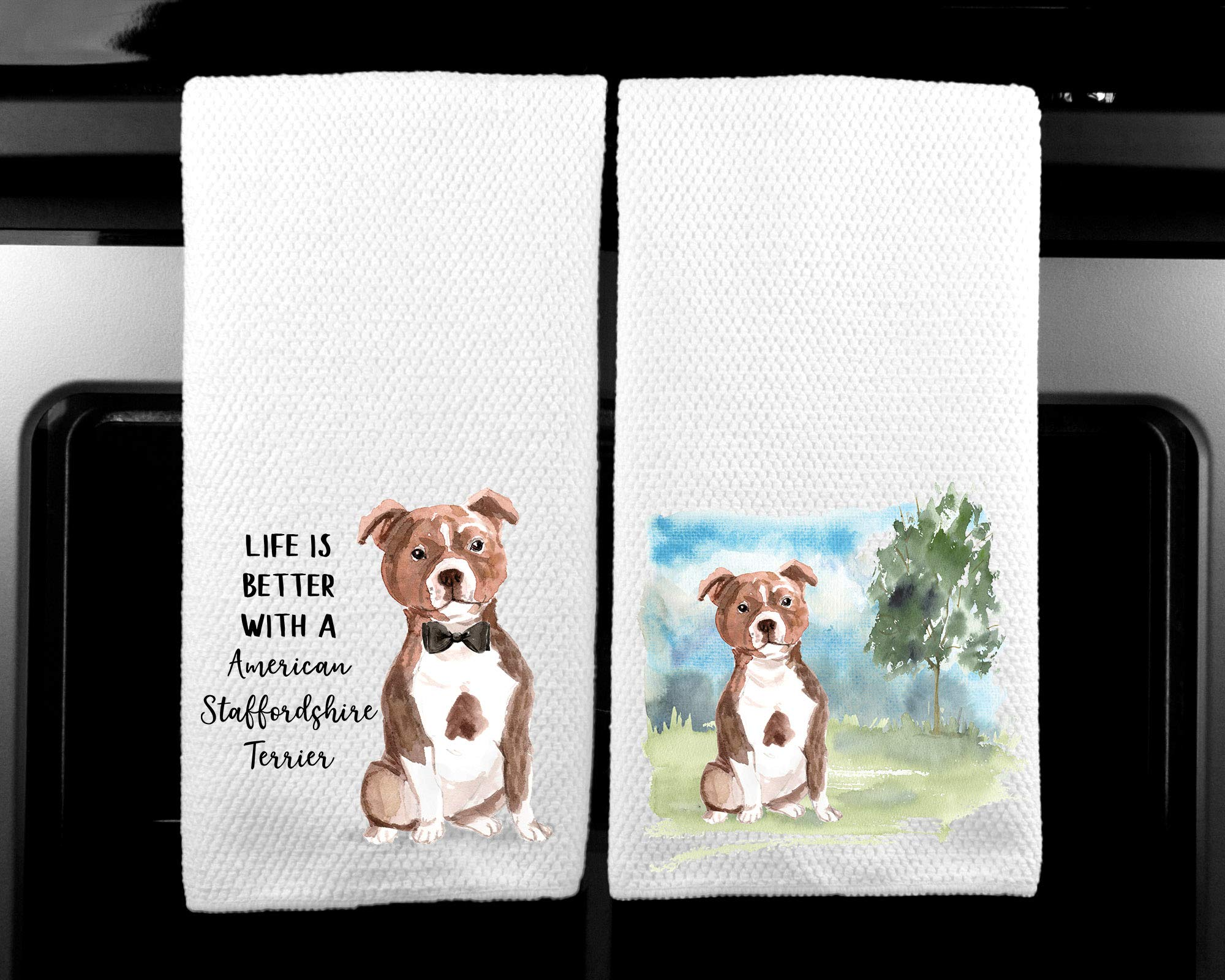 American Staffordshire Terrier Landscape and Watercolor Dog Life is Better Microfiber Kitchen Tea Towel Set of 2 1