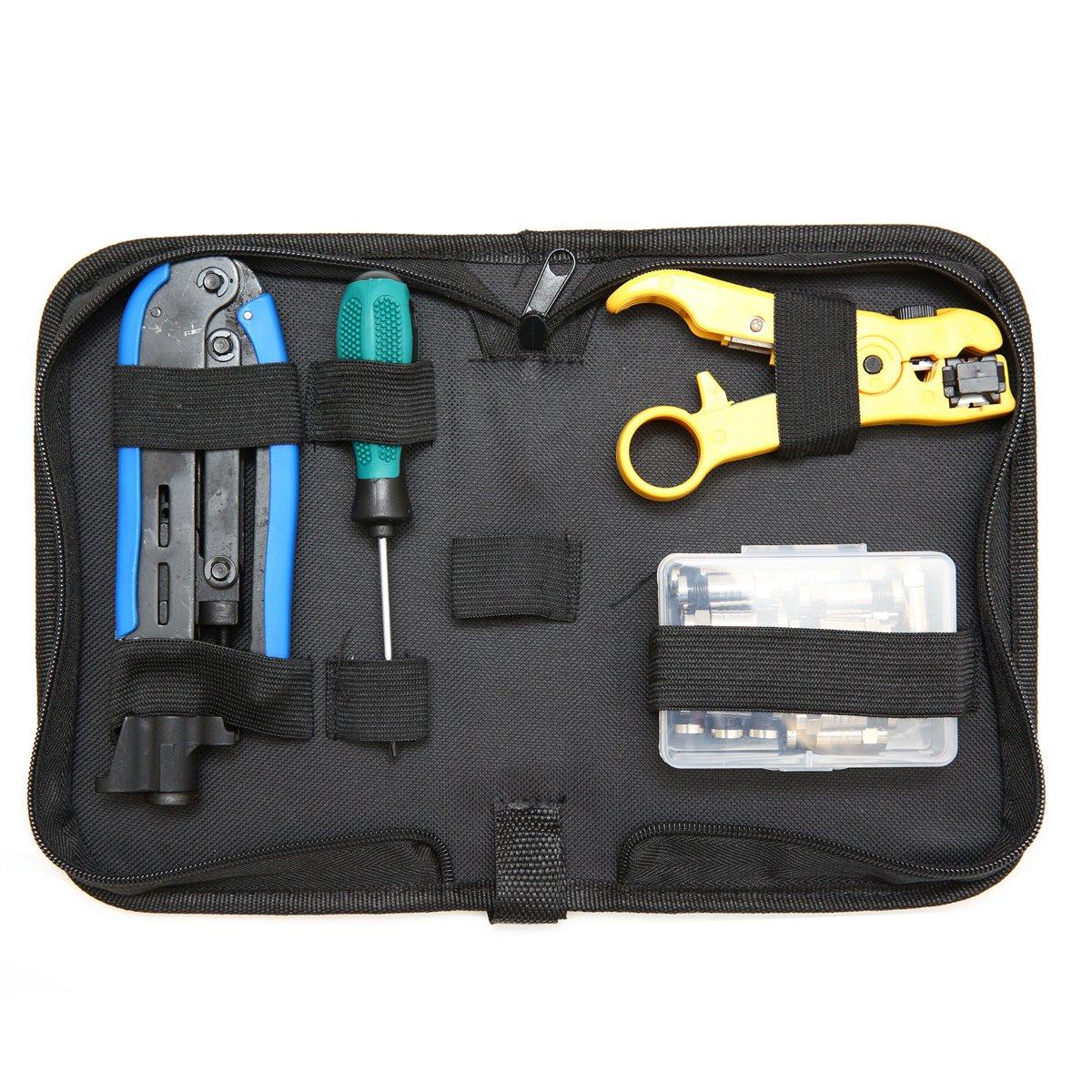Coax Cable Crimper Kit, Compression Tool Coax Cable Crimper Kit, Adjustable RG6 RG59 RG11 75-5 75-7 Coaxial Cable Stripper with 20 PCS F Compression Connectors
