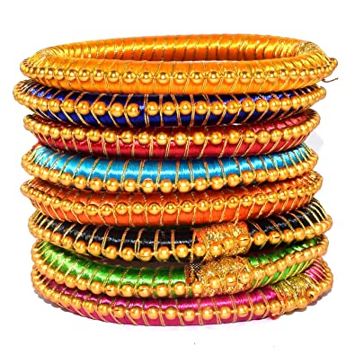 bangle online set silk for dp plastic bangles thread multicolor buy women naksh jewellery