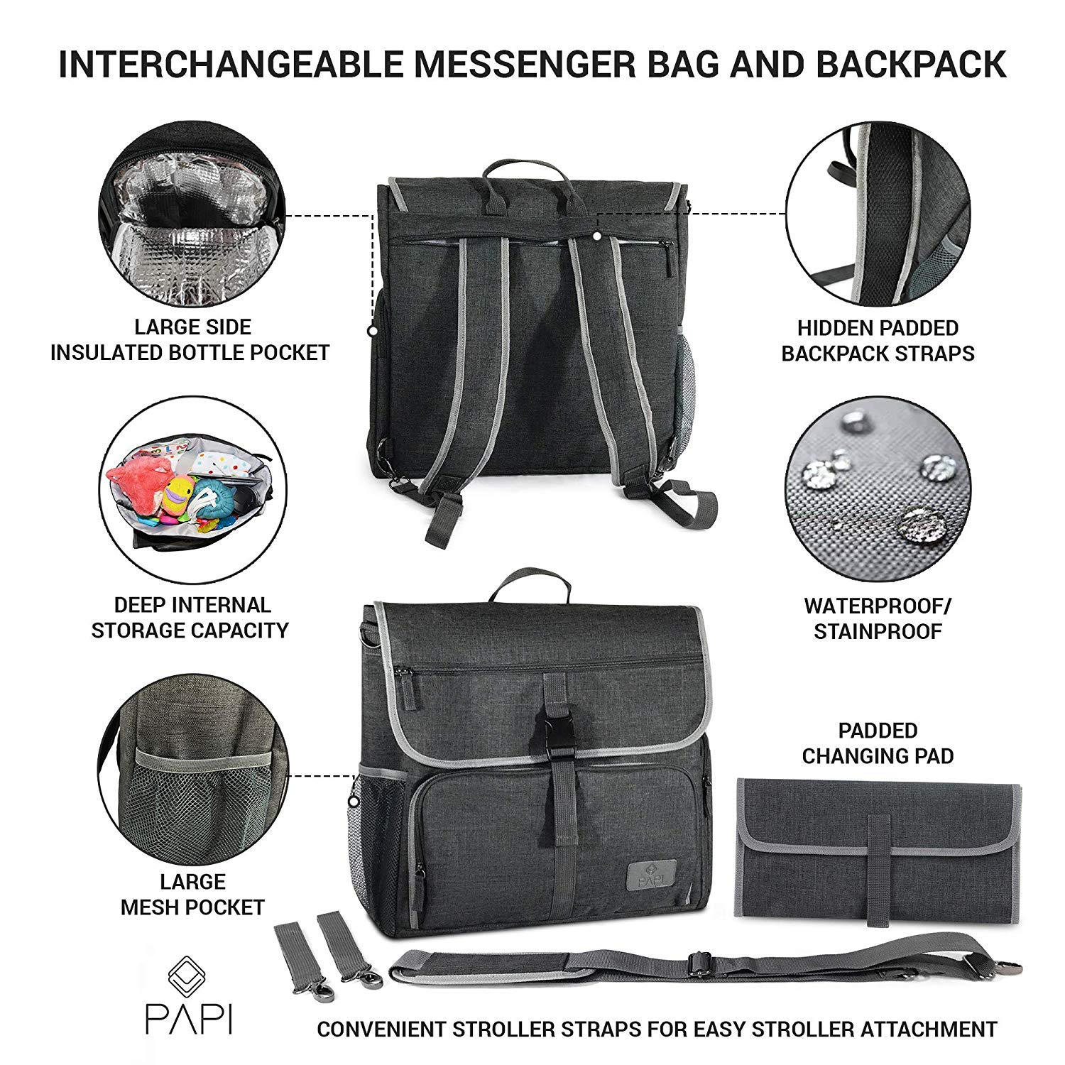 Amazon.com   CleverPapi Mens Baby Diaper Bag w Changing Pad - Baby ... 01014f3bfcdaa