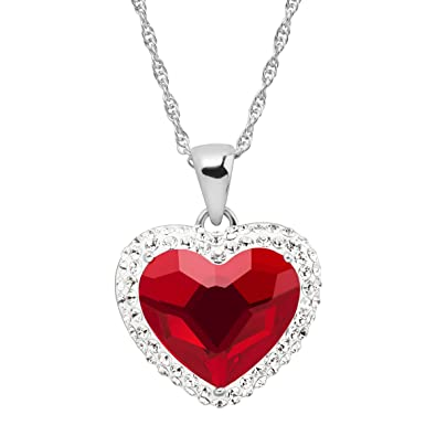 1cdb8d6ad Crystaluxe Red Heart Halo Pendant Necklace with Swarovski Crystals in Sterling  Silver