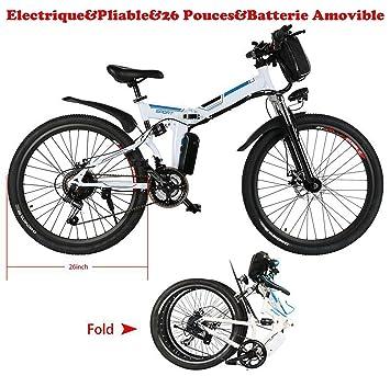 aceshin - Bicicleta eléctrica y ligera de montaña para hombre, plegable, batería de litio