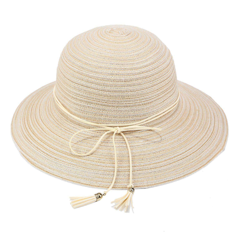 b249ab02521 VICVER Women Summer Floppy Sun Hat Wide Brim Beach Cap Foldable Cotton Straw  Hat with Tassel (Beige) at Amazon Women s Clothing store