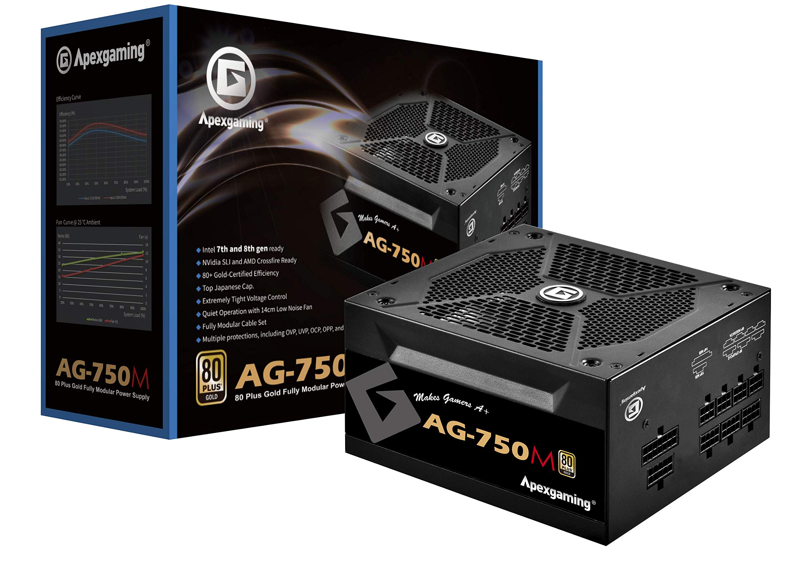 New 2020 80+ Gold Certified Fully Modular 750W High Performance Gaming Power Supply Support RTX3-series & AMD RX6-series GPU ApexGaming AG-750M PSU