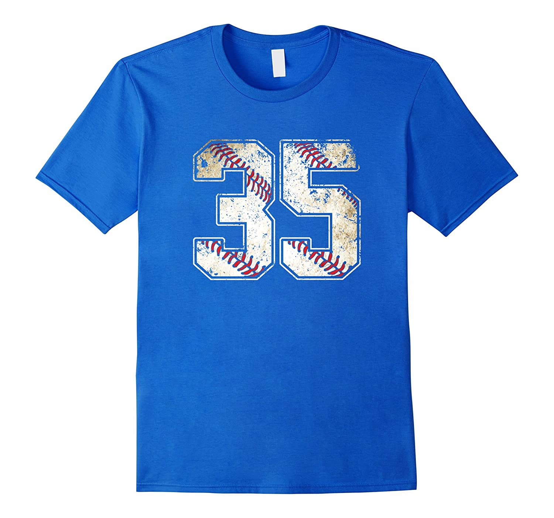 #35 Baseball Jersey Number 35 Retro Vintage T-Shirt-T-Shirt