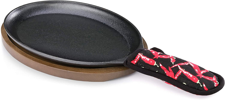 New Star Foodservice 1028614 Commerical Grade Cast Iron Fajita Set, Sizzling Skillet, Japanese Steak Plate