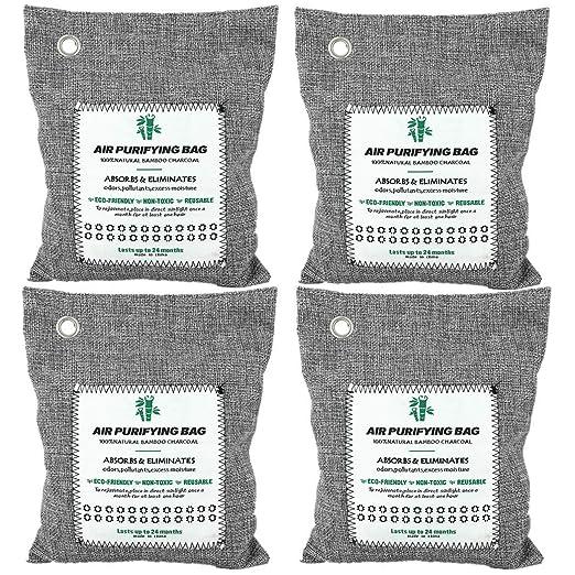 Paquete de 4 bolsas de 200 g para purificación de aire, con carbón de bambú activado para eliminación de malos olores; acaba con el olor a pintura, ...