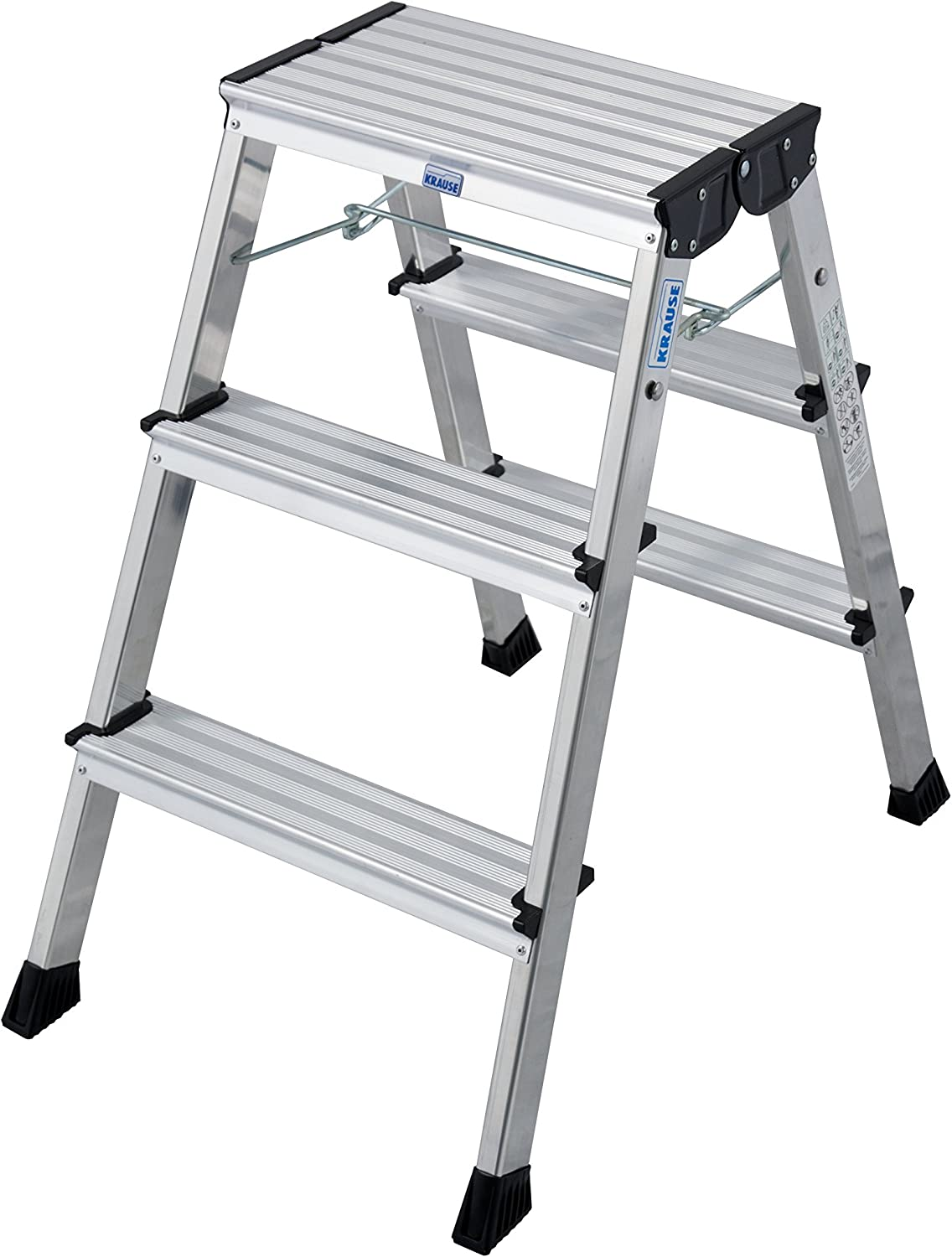 Krause 130068 Folding Steps 2 x 3 Steps Aluminium with Roll-Stop