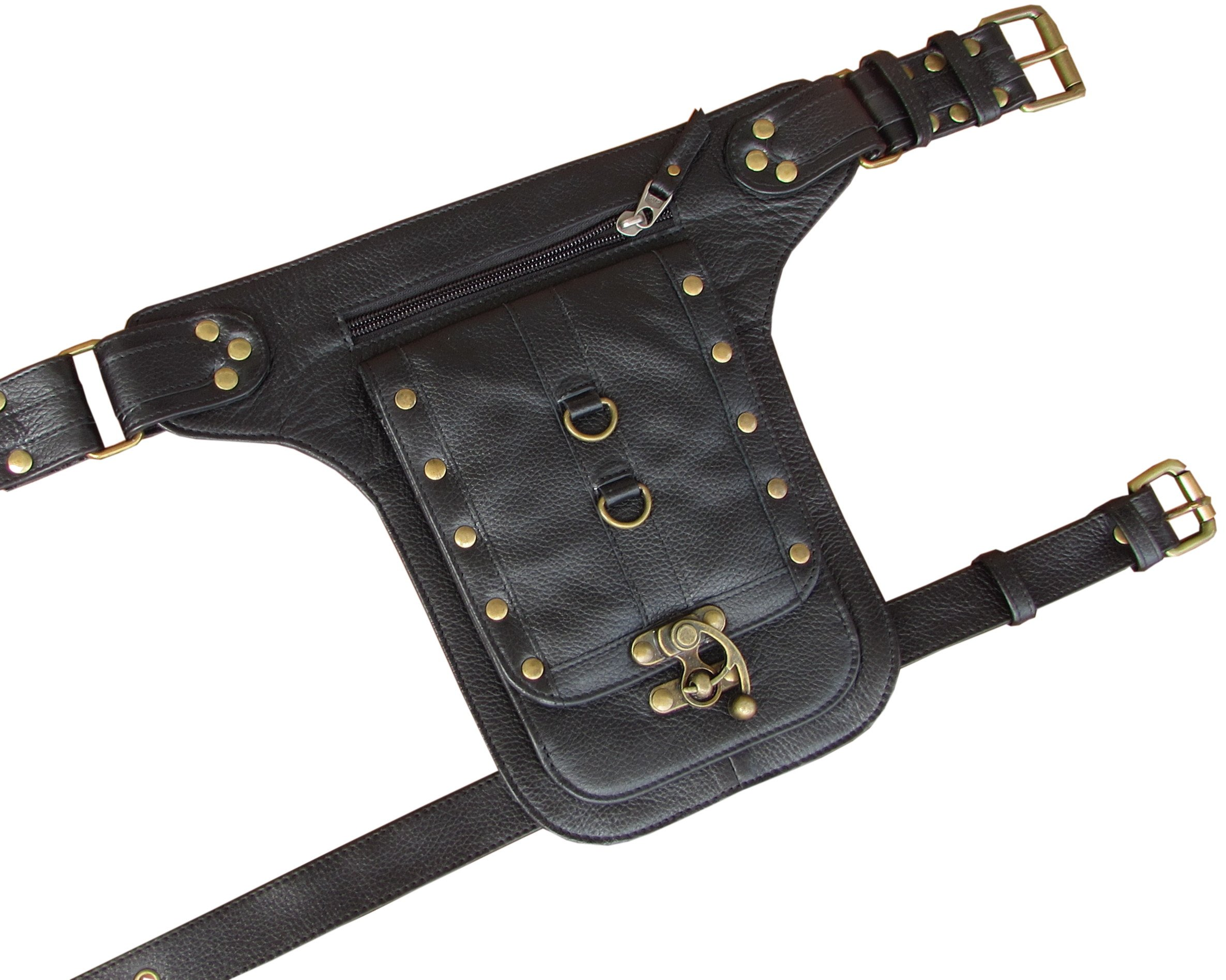 Steampunk Leather Holster Cosplay Thigh Bag with Swing Lock from One Leaf (Black)