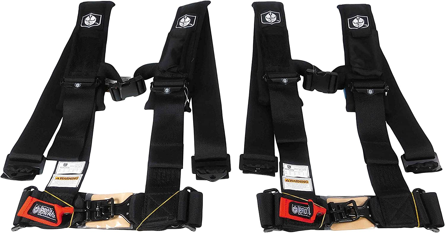 """A115230 Sewn New Pro Armor Black 5 Point Safety Harness Seat Belt RZR 3/"""" Pads"""